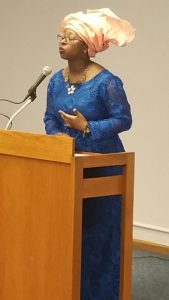 Miss Adekemi Sodamade addressing the audience